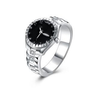 2018 Brand New creativo diamante orologio forma argento anelli europei e americani ornamenti all'ingrosso ornamenti di argento placcato a mano
