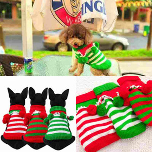 Dog Pet roupas roupas coloridas quentes de Natal Vestido de malha de inverno para Pet Dog três cores como o verde Red Dog-camisola de roupa