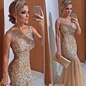 2020 Nuevo oro de Bling de la sirena vestidos de noche Sheer cuello cristalino con cuentas de tul de longitud de Celebrity sin respaldo vestidos sexy vestidos de baile 449
