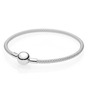 Bracciale rigido autentico S925 in argento sterling adatto per ciondoli stile pandora per donna con cinturino in maglia 596543 H8