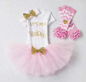 Roupas de Bebê recém-nascido Menina Menina 1o Aniversário Outfits Childern Romper + Tutu Vestido + Headband Infantil Traje Do Partido Roupa Dos Miúdos