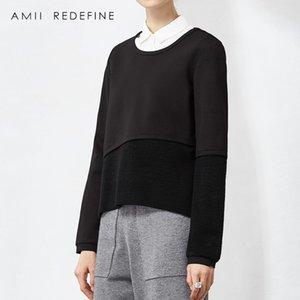 2018 Nueva Llegada Amii Redefine Casual Broadcloth Full Patchwork Regular Pullovers Regular O-cuello Sudaderas con capucha Sudadera