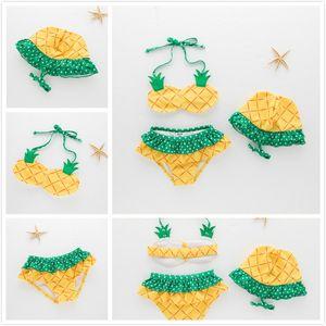 Moda Summer Beach Yellow Pineapple Halter de dos piezas traje de baño colgante con sombreros Dot Frutas impresas Bikinis Girls Spa Swimwear