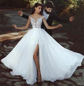 Sheer Neck Cap Sleeves Appliques Lace Chiffon Side Gorgeous Beach Wedding Dresses Split Illusion Back Boho Wedding Gowns Bridal Dresses