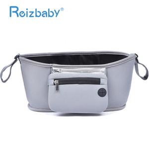 REIZBABY Baby Shopping Cart Stroller Bag Functional Waterproof Thermal Insulation Milk Bottle Storage Diaper Leather Bag