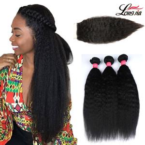 Charmingqueen Yaki Malaysian Straight Weave Bundles avec fermeture partie libre 100% cheveux crépus droite 3 Bundles avec fermeture à lacet