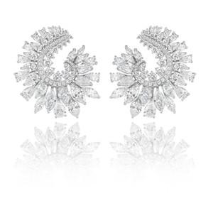 vente en gros marque nouvelle cubique zircone baguette pierres gros boucles d'oreilles manchette d'oreille boucles d'oreilles de mariage brillant