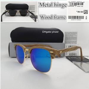 Стеклянная линза Бамбука Женская коробка Case Case UV400 бренд Thember Thert Great Wood 51mm Очки Goggle Men Unisex с солнцезащитные очки дизайнер VQTCS