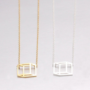 10pcs Geometric Outline Flat Cube Pendant Necklace Funny Visual Illusion Line Cube Jewelry Accessory for Gift