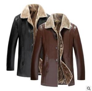 NEW зима очень теплый толстый искусственный мех кожаные пальто Повседневный стекаются PU длинные кожаные куртки для мужчин Размер одежды L-5XL