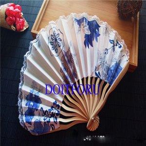 Free Shipping 100pcs Personalized Customized Bamboo 100% Polyester Flower Blossoms Wedding Chinese Japanese Folding Fan