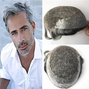 Fransız Dantel ile Cilt Poli Erkek Topuee Dantel Ön Erkekler Peruk Değiştirme sistemi Gri İnsan Saç Erkekler Için Hairpieces Nefes Peruk # 1B65