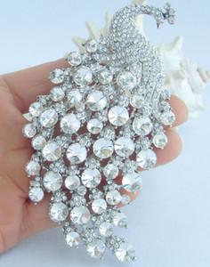 """4.33 """"broche oiseau paon w cristaux de strass clair EE05651C5"""