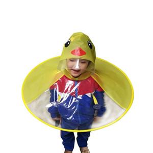 Cute Cartoon Duck Children Raincoat Umbrella UFO Shape Rain Hat Cape 2018 Nuovo arrivo di alta qualità