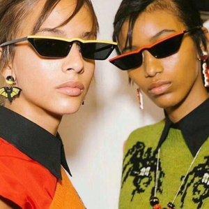 2018 90S Lunettes de soleil Femmes Vintage Mode Petit Cadre Rectangulaire Noir Rouge Cat Eye Lunettes De Soleil Rétro Skinny Shades