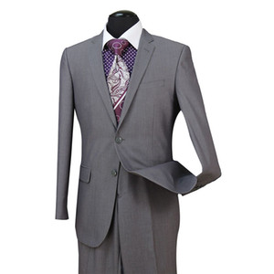 STOCK EN EE. UU. Gris claro Padrinos de boda Hombres Trajes de boda Fit dos piezas con pantalones Mezcla de lana Esmoquin Trajes de carrera de moda novio ST004