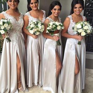 Sexy A-line Long Bridesmaid Dress Lace Appliqued Sleeveless Taffeta Floor Length Wedding Party Dresses Fashion Side Split 2018 Prom Dresses