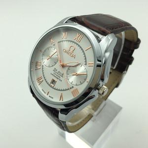 2020Classic высокое качество роскошных мужской кожаный ремешок кварцевые часы, оптовые календарных бизнес случайный водонепроницаемый мужской платье часы