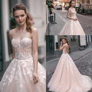 Vintage Charming Sweetheart A Line 웨딩 드레스 Illusion Bodice 레이스 아플리케 Tulle Long Bridal Gowns Sweep Train