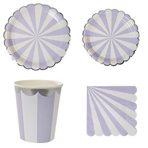 Mode Couverts à usage unique Stripe feuille d'or papier Coupes Plaques tissu Serviettes Vaisselle Kit Joyeux anniversaire Décor Party Supplies 26 5yz Zz