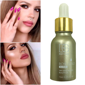 Beauty Glazed 24K Rose Gold Infused Beauty Oil Elixir Skin Make Up Essential Oil Before Primer Foundation Moisturizing Face Oil DHL Free Shi