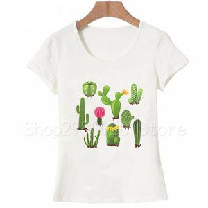 Yeni Yaz Kadın t-shirt moda Succulents Sanat T-Shirt Kaktüs Suluboya Baskı kadın Tee Sevimli kız Camisetas T Shirt Tops