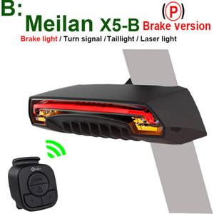 Meilan X5 Wireless bici bicicletta luce posteriore della coda del laser della lampada Smart USB Ricaricabile accessori per la bicicletta a distanza di svolta a led
