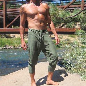 남성 여름 군대 그린 블랙 카키 카프리 하렘 바지 루즈 스포츠 Drawstring 바지 남성 통기성 반바지