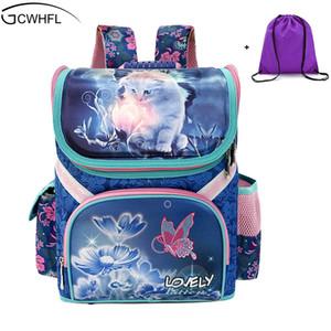Gcwhfl بنات مدرسة حقائب الظهر الحقائب المدرسية الأطفال فراشة القط حقيبة الظهر لفتاة الاطفال حقيبة حقيبة mochila Y18110107