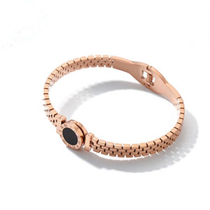 Digital Rome negro hueco redondo pastel de acero inoxidable pulsera moda 18K oro rosa pulsera titanio oro hueco pulsera