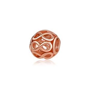 Braccialetto Infinity Collana Barbe Oro rosa Argento Colore adatto per bracciale Pandora Charm Braccialetto retrò con perline cave