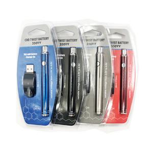 Ön ısıtma Pil Alt Büküm Manuel Evod Ön Isıtma VV 350 mAh 510 Konu Pil Blister Seti USB Şarj CE3 Için Kalın Yağ Kartuşları DHL