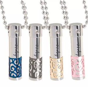 Óleos Essenciais Frasco de perfume Declaração de cristal colar 316L Amantes Titanium Garrafa Difusor medalhão Pendant pode ser aberto pingentes oco
