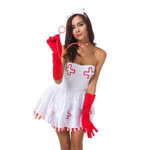 Sexy Erotic enfermeira do vestido extravagante 50% Party Night Wear Adulto High-end guarnição do laço Nurses Uniform Temptation Halloween Tema traje com chapéu