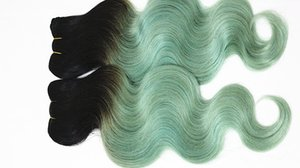 Body Wave 4 Bundles brasileña sin procesar Ombre 1B / gris verde claro Red Purple 4pieces / lot extensiones de cabello tejidos Bundles