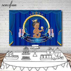 En gros Royal Blue Rideau Little Boys Baby Shower Toile de Fond Cadeau Couronne Fêtes D'arrière-plans Pour Photo Studio 7x5FT Vinyle