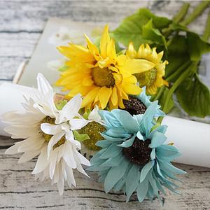 Seda girasol Novia ramo para el hogar Fiesta Boda Navidad jarrones decora productos para el hogar Artificial plástico Flor