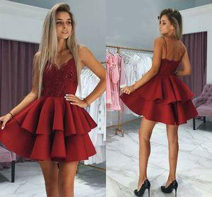 Burgundy Red Lace Short Homecoming Dresses V Neck Spaghetti Straps Satin Backless Party Dresses Short Prom Dresses