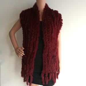 HSPL Knitted Women Fur Vest Hot Sale Fashion Long Cashmere Knitted Real Fur Tassel Pocket Rabbit Vest colete feminino franjas S18101203