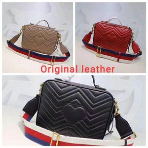 Bolsos de marcas famosas bolsas de la calidad de Hight Marmont bolsa mujeres del diseñador shoulderbag de lujo original verdadero de la piel de becerro de cuero de vaca bolso de hombro de lujo