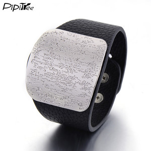 Pipitree Wide Leather Bracelet for Men Women with Alloy Buckle Adjustable Fashion Women Men Bracelets & Bangles Punk Jewelry