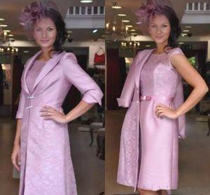 Cheap gelin anne elbise ile ceket diz boyu dantel abiye giyim ışık mor düğün konuk elbise
