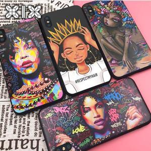 Für Funda iPhone X Fall 11 Pro Max 6 6S 7 8 Plus X XS Max XR Afrikanische Mädchen für iPhone Abdeckung 7-Kasten-weiche TPU für Capa iPhone 8-Fall