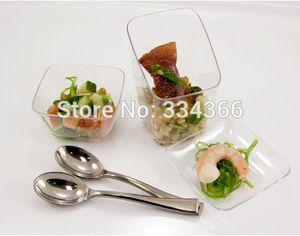 Eco Friendly 100pcs / Lot en plastique à usage unique en argent Cuillère à dessert 3.9inch Mini gâteau cuillères à café de thé Petite cuillère pour soirée de mariage