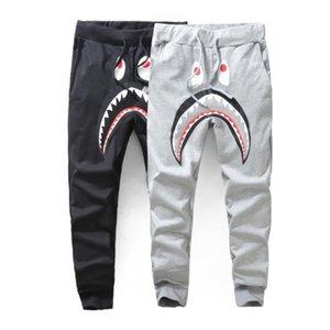 Hombres de Negro Gris Shark Pant Pantalones Moda Harem Pantalones WGM Otoño Invierno Fleece deportiva pantalones largos del basculador Operando Sweatpant