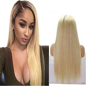 Brésilienne Ombre 360 Pleine Dentelle Perruque Avec Des Cheveux de Bébé 150% Densité Droite 613 # Blonde Sans Colle Pleine Dentelle Perruques de Cheveux Humains Pour Les Femmes Noires