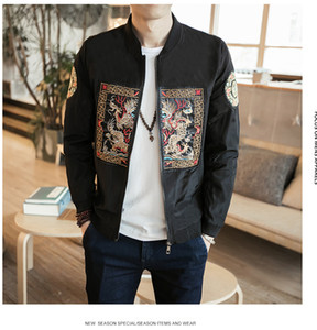 Spring Bomber Jacket Men New Fashion Chinese Long Pao Chaquetas Hombres Slim Fit Manga larga Casual Hombres Abrigos Windbreaker Plus size 5XL-M