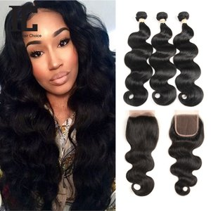 Brazilian Body Wave With Closure 3 Bundles Body Wave Human Hair Weave With Lace Closure Non-remy Hair Free Middle Three Part
