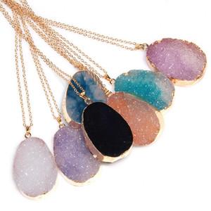 Maglione delle collane pendente di cristallo di quarzo pietra naturale di modo del pendente collane Unpolished monili originali catena all'ingrosso Gold Chain