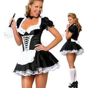 Di alta qualità Sexy Adult Maid Servant Costume Halloween Party Fancy Dress manica corta Sexy costumi cameriera francese